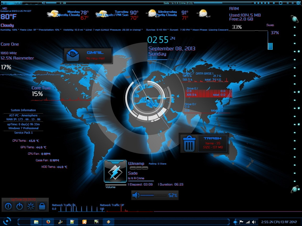 Rainmeter Skin | Amerisphere Software Technologies